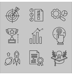 Flat line icons for web development vector
