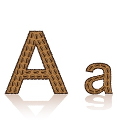 Letter a is made grains of coffee isolated on whit vector