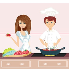 Couple cooking dinner vector