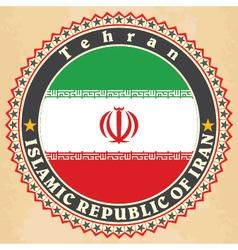Vintage label cards of iran flag vector
