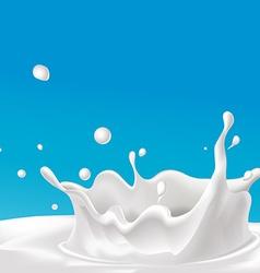 Splash of milk - with blue background vector