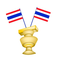 The constitution on a pedestal with thai flag vector