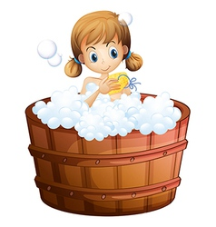 A young girl taking a bath at the bathtub vector
