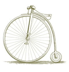 Woodcut vintage bicycle drawing vector
