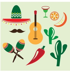Mexico icons set vector
