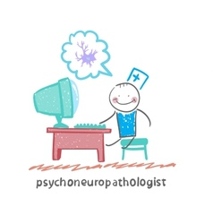 Psychoneuropathologist sits on the workplace at vector