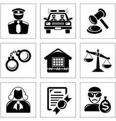 Security and law icons vector