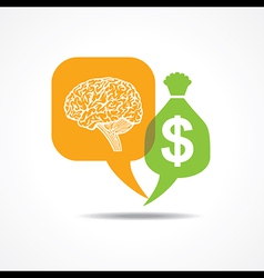 Brain and dollar symbol in message bubble vector