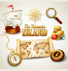 Treasure island icons set vector