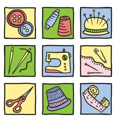 Sewing stuff and tools vector