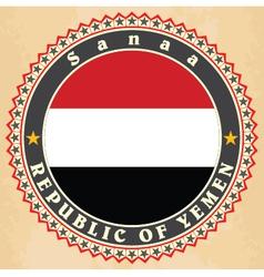 Vintage label cards of yemen flag vector