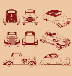 Old car silhouette in several positions vector