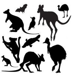 Australian animals silhouettes vector