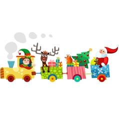 Christmas train vector