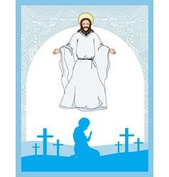 Man prays to jesus vector