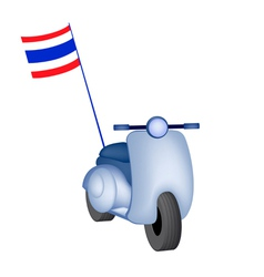 Vintage scooter with thai flag on white background vector