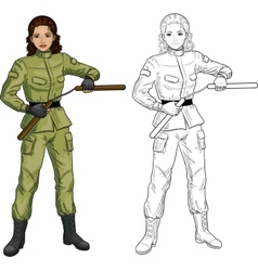Indonesian nunchuck girl in military uniform vector