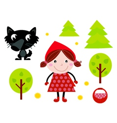 Cute red riding hood icons vector