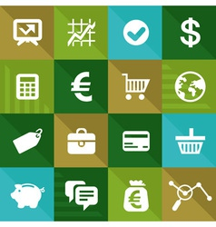 Finance and business icons in flat style vector