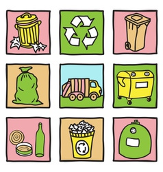 Set of recycling icons vector