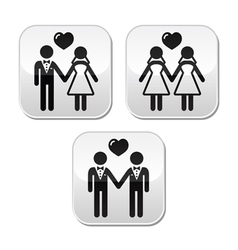 Wedding married hetero and gay couple buttons vector