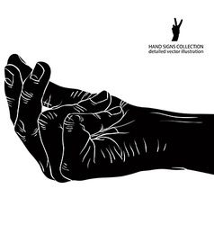 Hand asking about payment detailed black and white vector