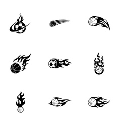 Fire sport balls icons set vector
