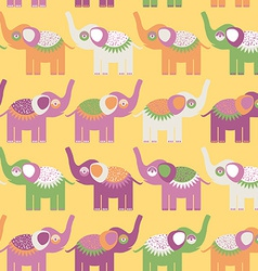 Cheerful seamless pattern with elephants purple vector