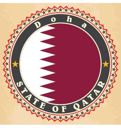 Vintage label cards of qatar flag vector
