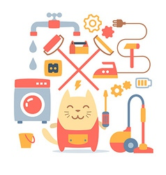 Character home handyman in uniform colorful flat vector