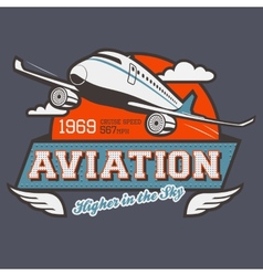 Aviation label t-shirt vector