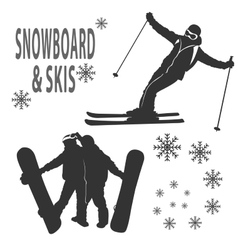 Snowboard and skies vector