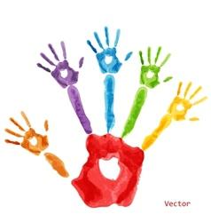 Colourful handprint paint vector