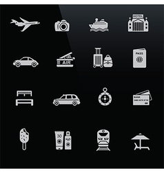 Travel icons white on black screen vector