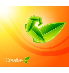 Nature leaf concept on orange background eps10 ill vector