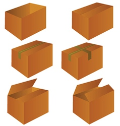 Brown cardboard shipping box vector