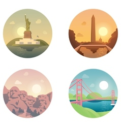 Icons set landmarks and cultures vector