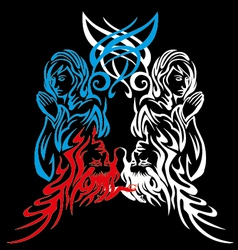 Angle and devil girls tribal art vector