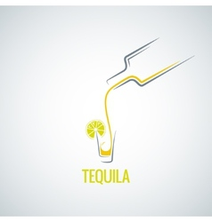 Tequila shot bottle glass menu background vector