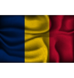 Crumpled flag of chad on a light background vector