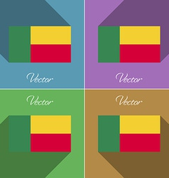 Flags benin set of colors flat design and long vector