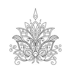 Ornate dainty vintage floral motif vector