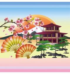 Japanese background with sakura japanese cherry vector