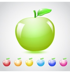 Set of glass apples vector