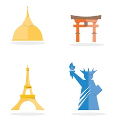 Four famous landmark icon vector