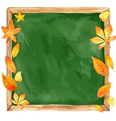 Watercolor school board and autumn leaves vector