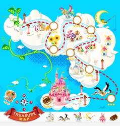 Pirate treasure map sky castle vector