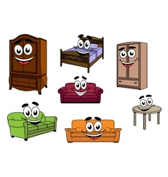 Happy sofas cupboards table bed cartoon vector