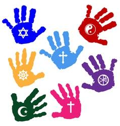 Hands of believers vector