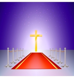 Gold cross red carpet and fencing of chrome struts vector